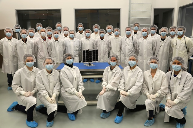 Planetary Resources Team with Arkyd 3 Reflight, set to deploy from the ISS this week.