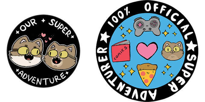 (left) image for metallic 25mm badge (right) image for embroidered 70mm patch, both available from all pledges £30+