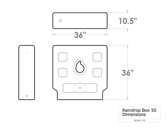 Dimensions of the Raindrop Box 50