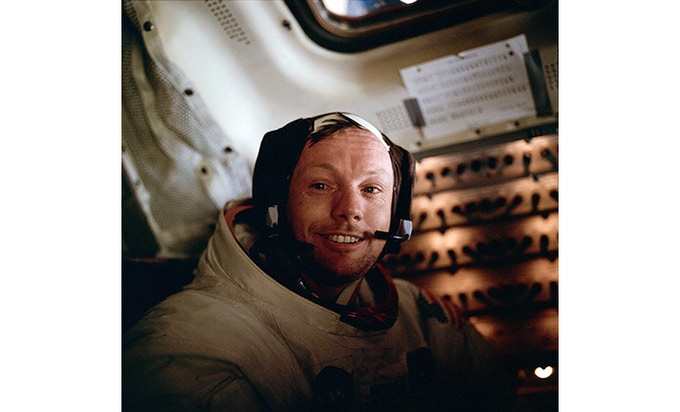 Astronaut Neil A. Armstrong, Apollo 11 Commander inside the Lunar Module as it rests on the lunar surface after completion of the Extravehicular Activities. Image Credit: NASA