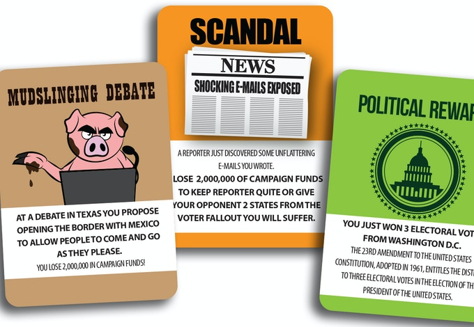 Political Action Cards will give your campagin funds or take away campgain funds. There's also a card to represent the 3 electoral votes that Washington DC has to offer.