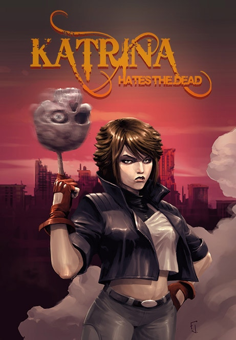 The final prepress cover for the soft cover edition of Katrina Hates the Dead.