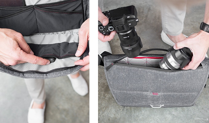 Front access panel has 8 stretchy mesh pockets for bits-n-bobs. Water resistant top zip gives instant access to main compartment. See images at the top of the page for final interior pocket colors.