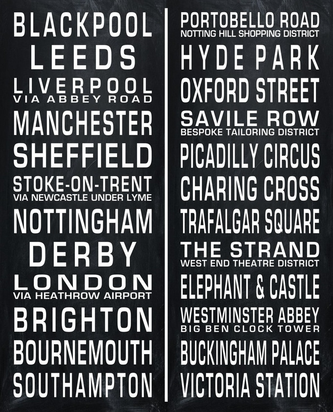 Route Sign Typography for Graphic Black & White Fabric