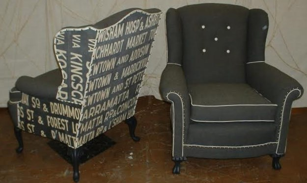 Pair of Wingback Chairs with Australian Route Sign Upholstery
