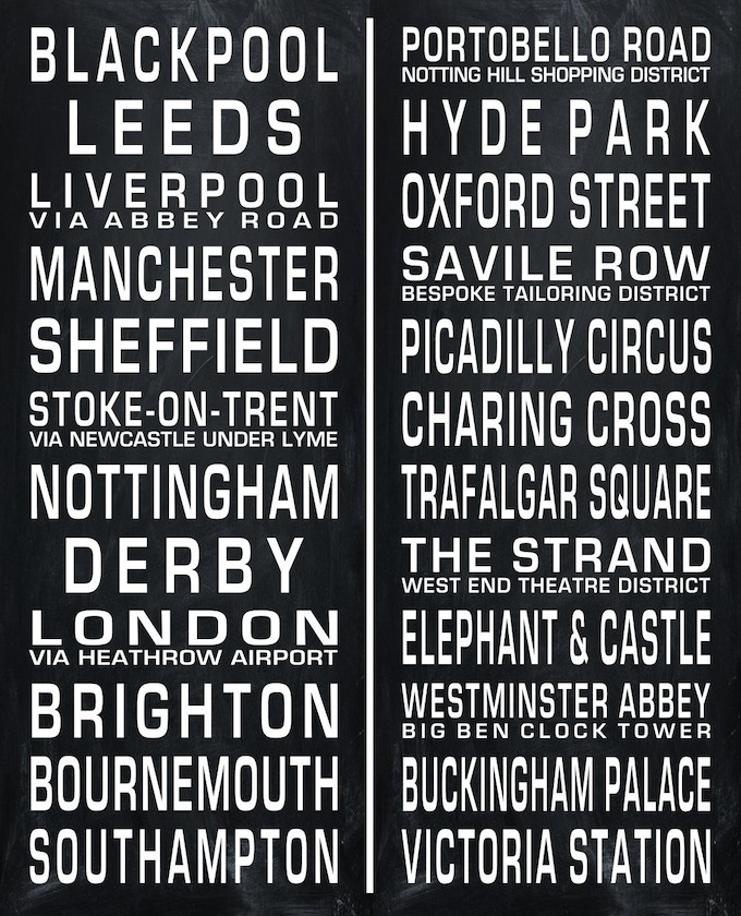 Station Eleven Quotes With Page Numbers: Vintage British Transit Route Sign Fabric By DeWayne