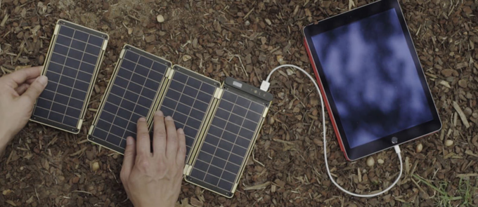 Embedded magnets let you easily add or subtract Solar Paper's solar panels.
