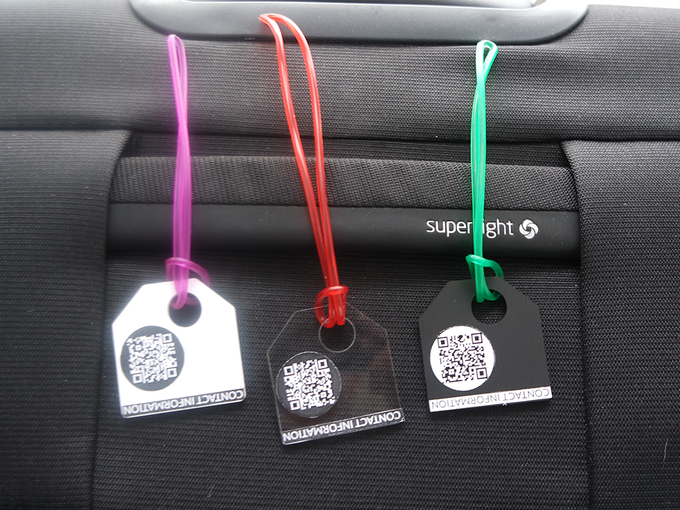 Prototypes where the QR code and text is made with print on a sticker. Material and size is however the final product.