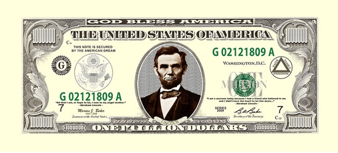 Lincoln Million Dollar Bill