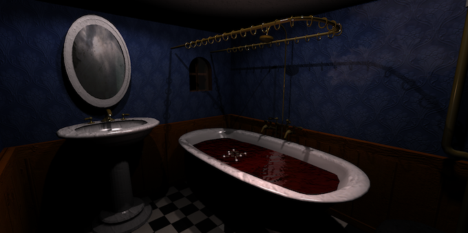 A blood filled tub in the bathroom...