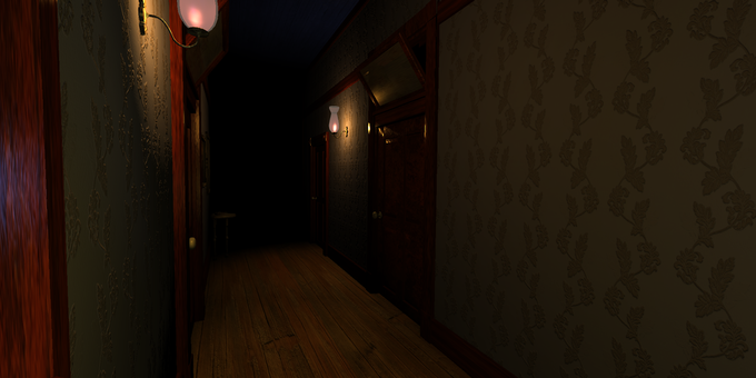 A view of the dark hallway of The Stauf Mansion