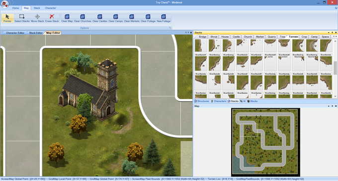 Screenshot from Toychest, an early prototype of the BoardCraft software.