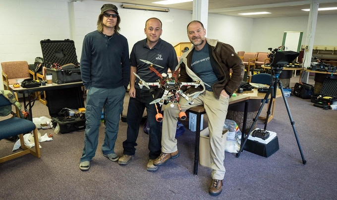 Survivorman's Aerial Photography team of Ian Auger (left) and Dave Terry (middle) with Survivorman Les Stroud
