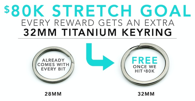 Once the project hits $80K, every pledge will get a larger, 32mm titanium key ring for free. (See Update #4)