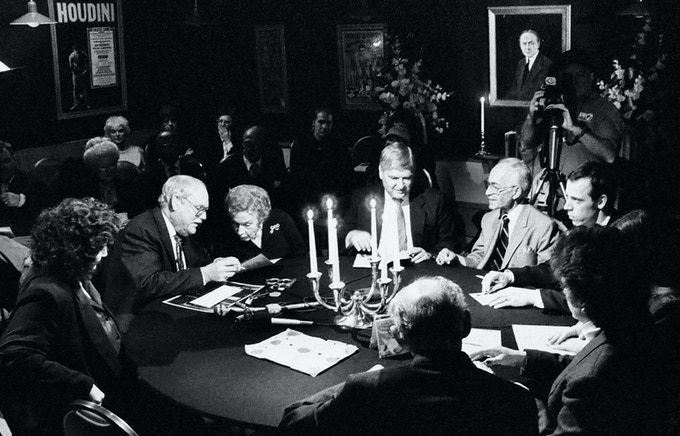 Sidney Radner (second from left) prepares for The Official Houdini Séance in 1992.