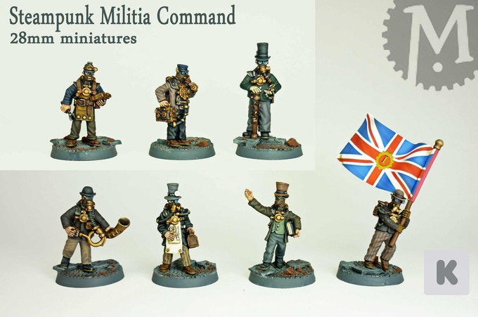 Steampunk miniatures militia command