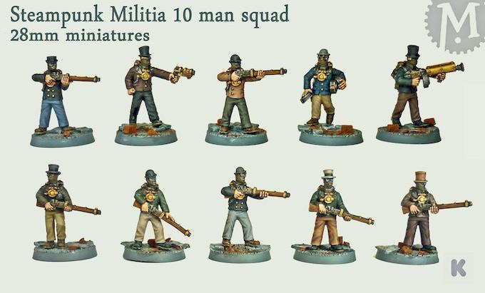 Steampunk miniatures militia squad.