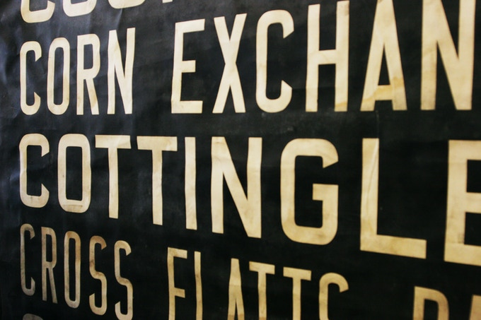 Cross section of Vintage British Transit Route Sign circa 1940's