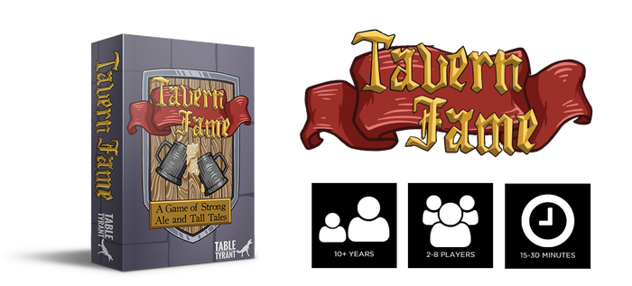 Tavern Fame is a short, fantasy-based, press-your-luck bidding game for 2-8 players that are trying to be the most famous adventurer in their local tavern.