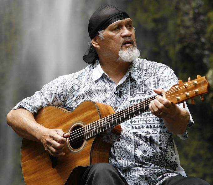 Cyril Pahinui at Hi'ilawe in Waipio Valley, Hawai'i