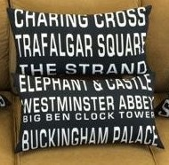"""$89 Pledge Award - 14"""" X 25"""" Rectangular Lumbar Pillow Cover - Full Route Sign Front - Choose One: Charing Cross OR Elephant & Castle"""