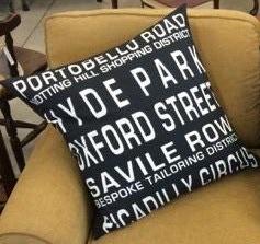"""$99 Pledge Award - 24"""" Euro Square Pillow Cover - Full Front Route Sign - Specify Portobello Road"""