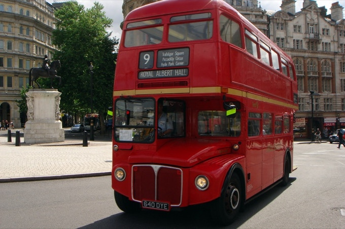 Double-decker bus with three destination displays: Route Number, Multiple Upcoming Stops & Final Destination