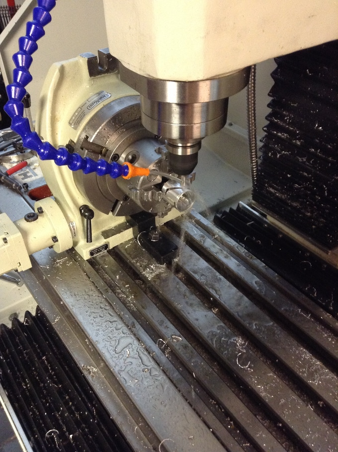 The bezel on a 4th axis cnc mill