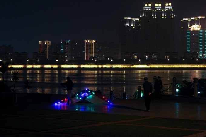Flying LED kites by the river in Fuzhou, 2010