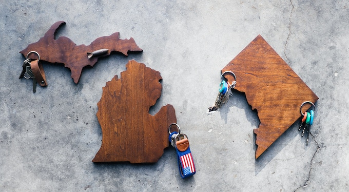 Newcomers!   Washington D.C.  &   the Upper Peninsula.   Please note** the UP is an add on item. With only two magnets, it is half price: $17.  Please add $17 to your pledge for each Upper Peninsula you need.