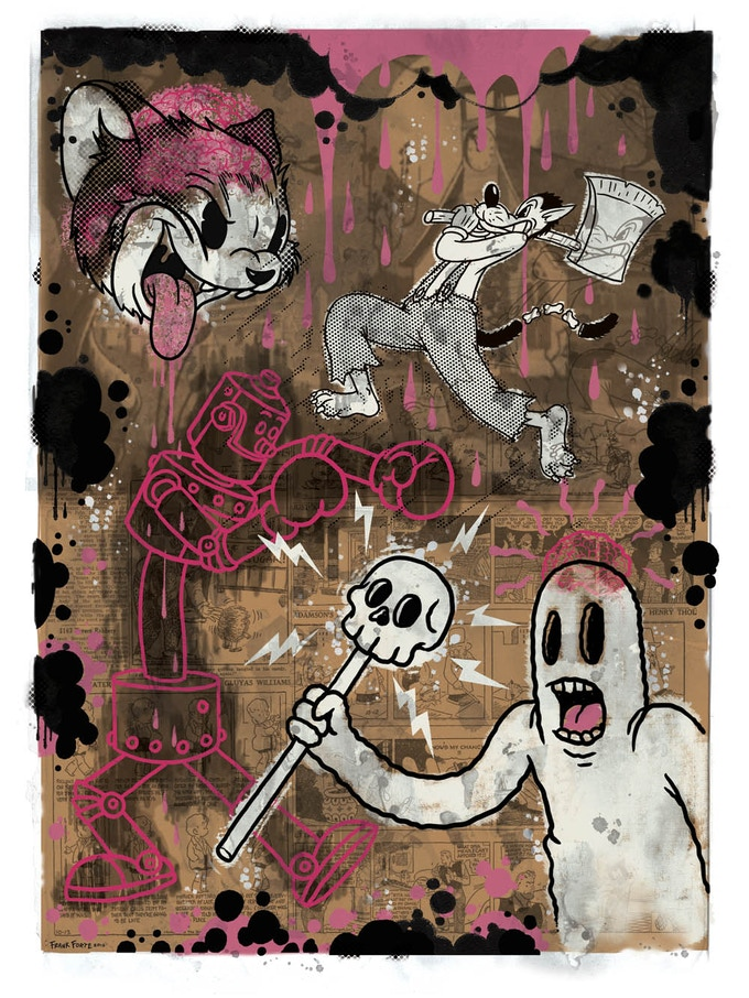 """""""The Cartoon Cat"""" PINK VERSION-Limited edition of 100 - hand silk screened fine art print"""