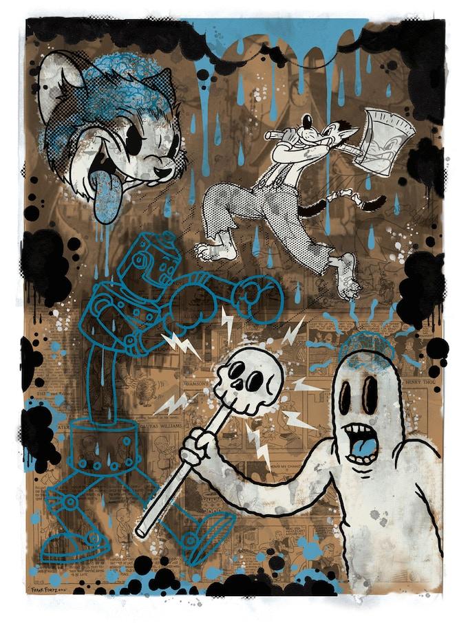 """The Cartoon Cat"" BLUE VERSION-Limited edition of 100 - hand silk screened fine art print"