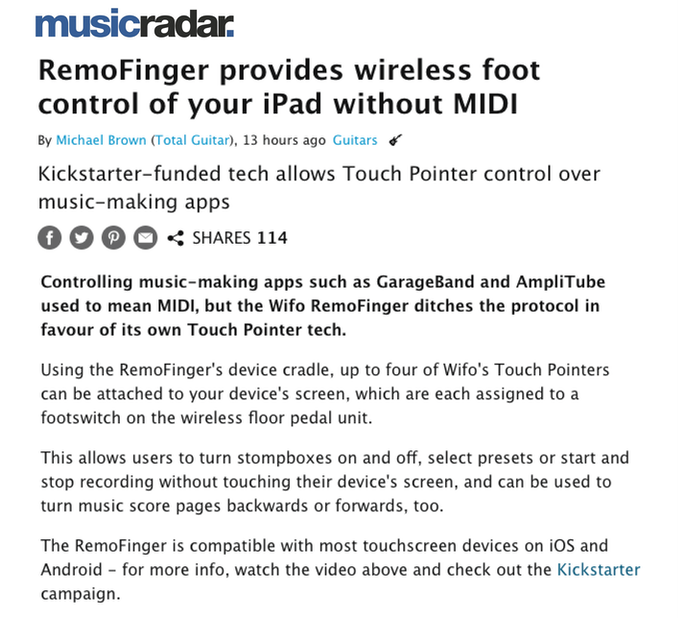 Click the picture to view the article in the MusicRadar