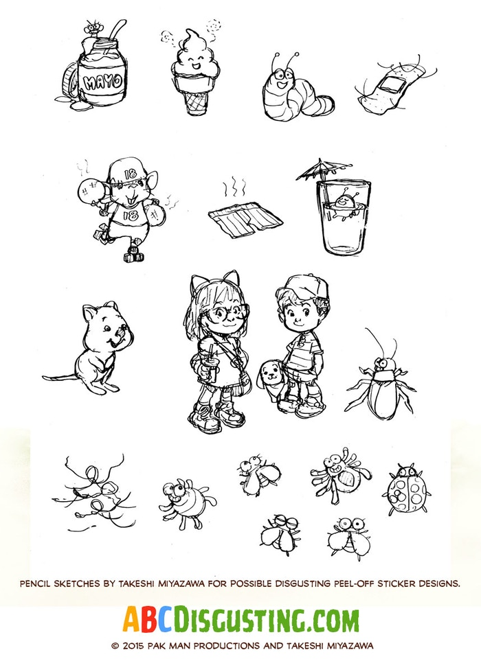 Preliminary pencils by Tak Miyazawa for a super-sized peel-off sticker sheet!