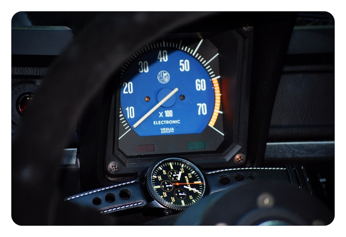 Version A with Black leather rally strap and the Tachometer by Veglia Borletti