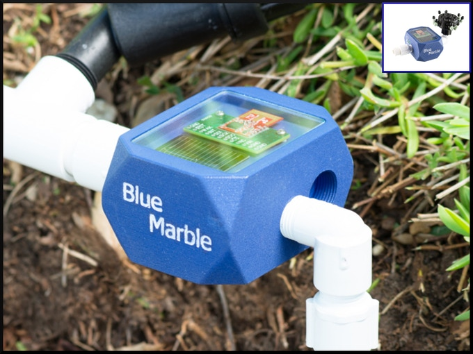 Blue Marble remote app-controlled drip/zone valves work with the controller to deliver the perfect drink to every plant in your garden- battery free!
