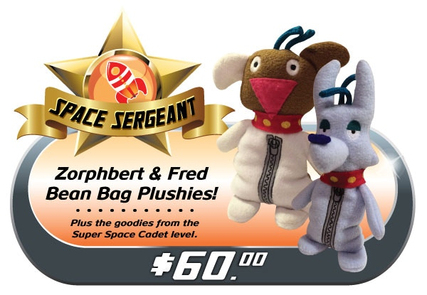 """Please, you know these guys work best as a PAIR! Adopt BOTH Zorphbert & Fred for optimal levels of adorable fuzzy fun! Comes with all the """"SUPER SPACE CADET"""" goodies too!"""