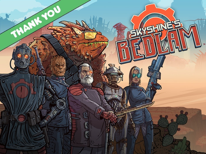 Influenced by great games like FTL, XCOM and The Banner Saga, Skyshine's  BEDLAM is a rogue-like, turn based strategy game set in an over the top  post-apocalyptic wasteland filled with colorful characters and brutal  enemy encounters. Welcome aboard.