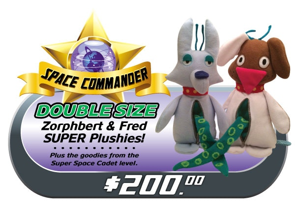 """BE A SPACE COMMANDER! Super-size your prize, with these limited-edition DOUBLE-sized plushies! Complete with bendable antennae, real zippers and tentacles! Only FIVE sets available! Comes with all the """"SUPER SPACE CADET"""" goodies too!"""