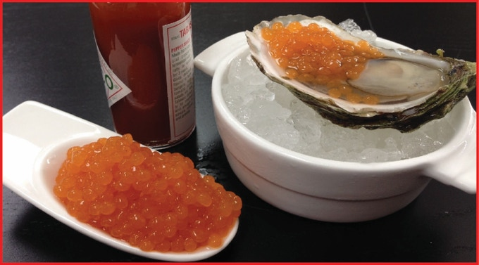 Tabasco Pearls on Oysters