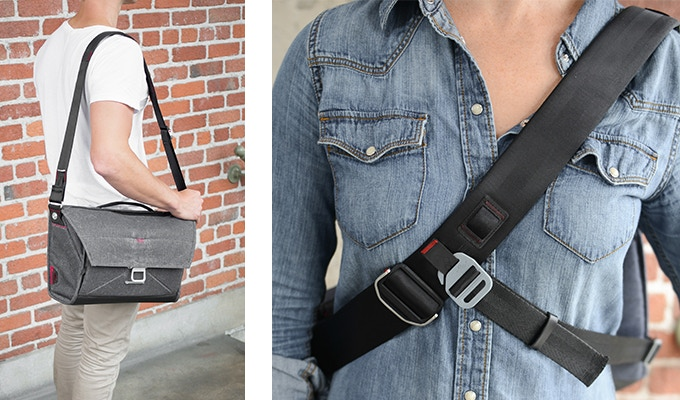 The main strap is made of internally-padded seatbelt webbing, and it adjusts for messenger or shoulder carry style. Removable stabilizer strap can also be worn as a waist strap to take weight off your shoulder.