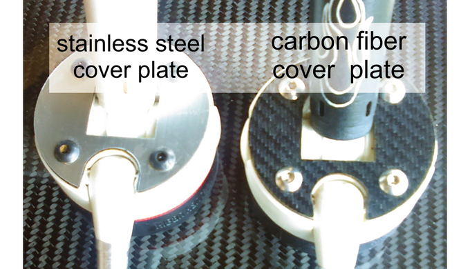 The stailess steel and carbon fiber cover plates.