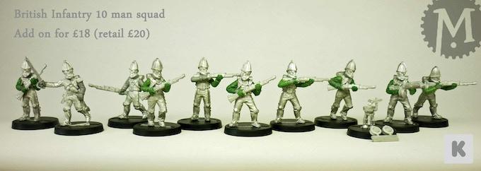 Steampunk infantry miniatures.