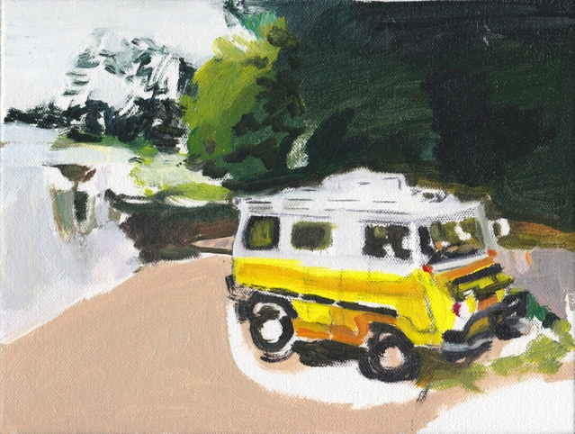 Yellow weird van by the water painting