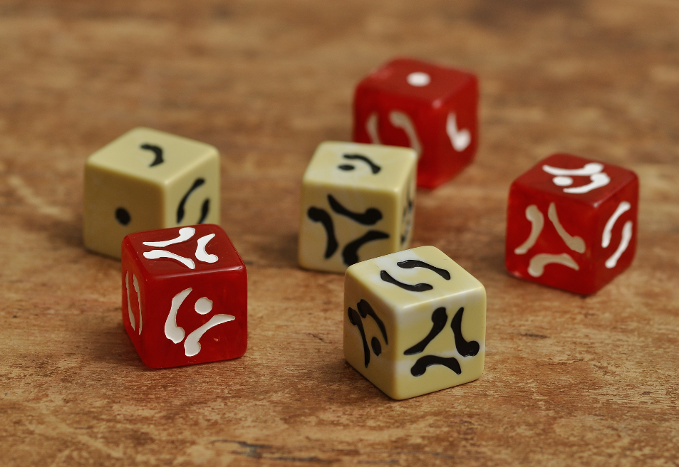 These dice are inspired by the themes of bone and blood.