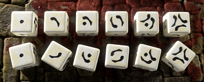 The markings on the dice are easily recognisable from any angle, even when they are upside down.