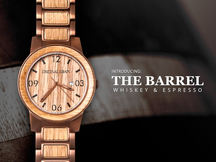 Featuring the first and only reclaimed whiskey barrel watch, including five additional exotic hardwoods. Introducing The Barrel from Original Grain.