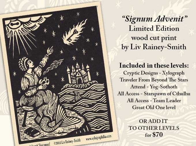Signum Advenit by Liv Rainey-Smith. This is the first artist's proof from the actual carved and inked block. The final print may differ slightly, as the artist completes additional details.