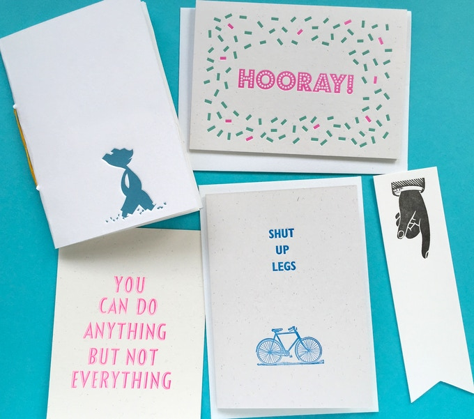 Example Snail Mail Parcel: An exclusive pocket notebook, greeting cards, postcard and cotton paper bookmark!