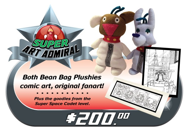 "BE A SUPER ART ADMIRAL! Original art lovers, set your phasers to STUNNING! Receive not only the Z&F plushies, but a matted comic signed by Dawn, & an original fanart piece by the Fraim Brothers! Comes with all the ""SUPER SPACE CADET"" goodies too!"